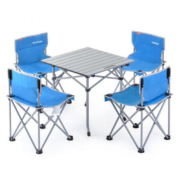 320-trắng-Bộ bàn ghế xếp dã ngoại NATUREHIKE cho 4 người