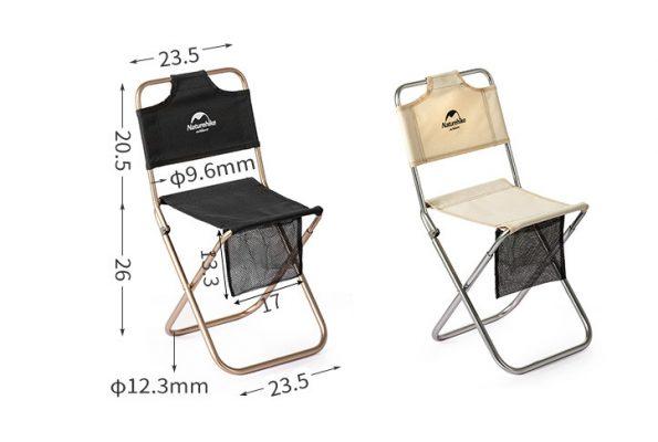 ghế xếp inox có tựa lưng NatureHike NH18M001-Z-9